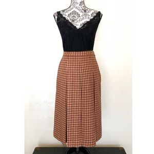 Vintage Brown Plaid Wool Skirt Fully Lined